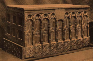 Elaborately carved Parish Chest Rainham Church, Kent Circa 1350