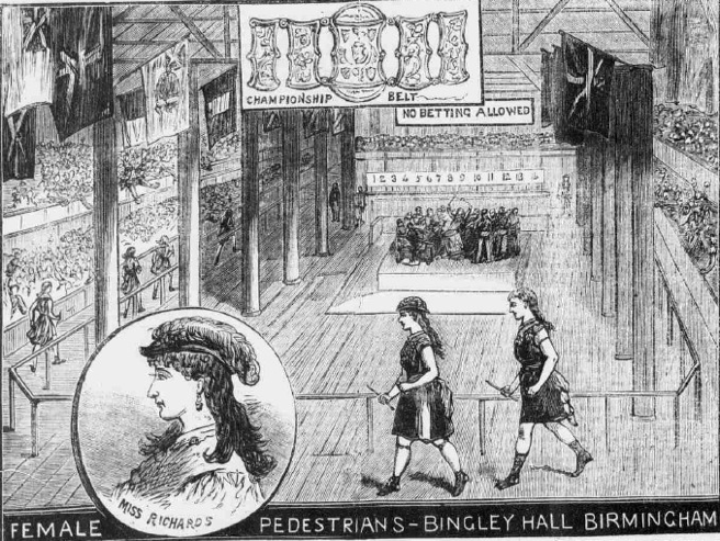 Female six-day pedestrian tournament at Birmingham (Illustrated Police News, 29 March 1884)