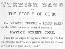 Part of a yearbook advertisement for Dr Barter's Turkish Baths for the Destitue Poor, 1862