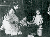 The same water would normally be used for all the children at bathtime in the home of a poor family in the 1890s
