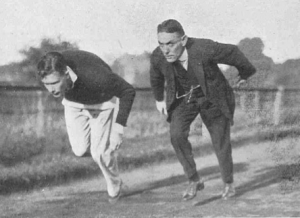 Alfred Shrubb, coaching Oxford Uni sprinter F Coldstream on starting