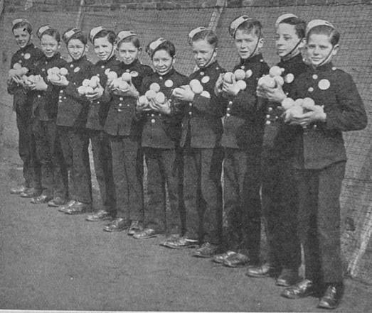 Messenger Boys acting as Ball Boys at the Hampstead Tennis Tournament 1930