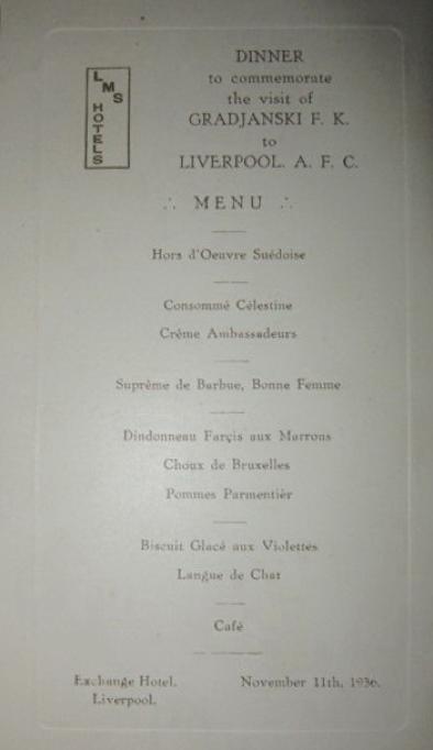 Official Dinner menu