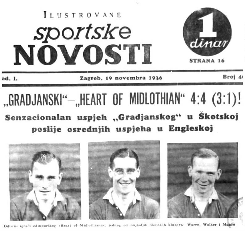 Yugoslav newspaper reporting match between Gradjanski and Hearts