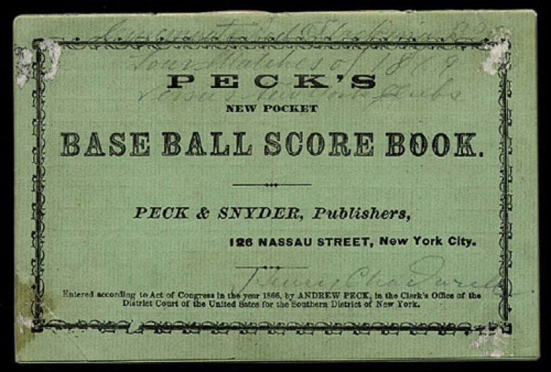 Chadwick's own scorebook from 1869