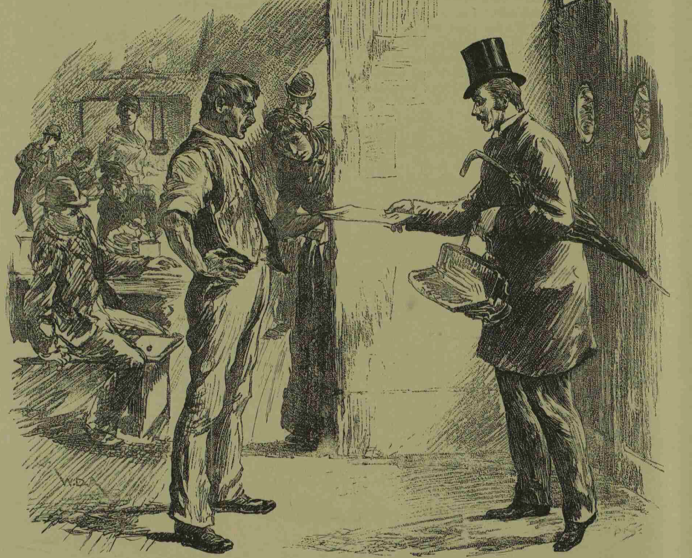 The census enumerator, confronted by the deputy of a common lodging house