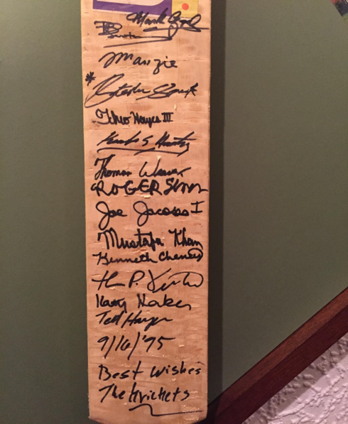 'Peace' bat containing signatures of LA Krickets 1995. Many of these were handed out as a gesture with many opponents, as a symbol of unification – the core principal of the team in the wake of the riots