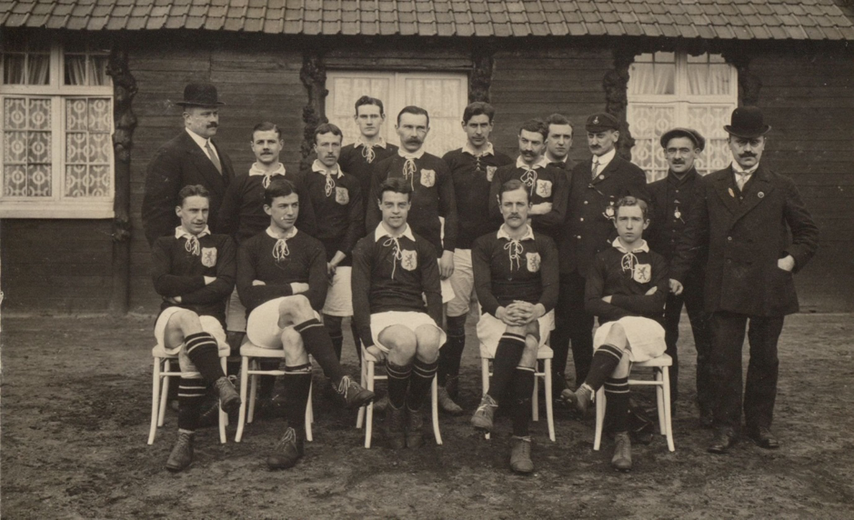 Image 6- Meerum_Terwogt; Caption- H.A. Meerum Terwogt as a linesman during the 1911 Belgium v Netherlands game (standing, fourth from right)
