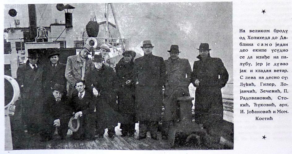 Members of SK Jugoslavija aboard the ferry from Holyhead