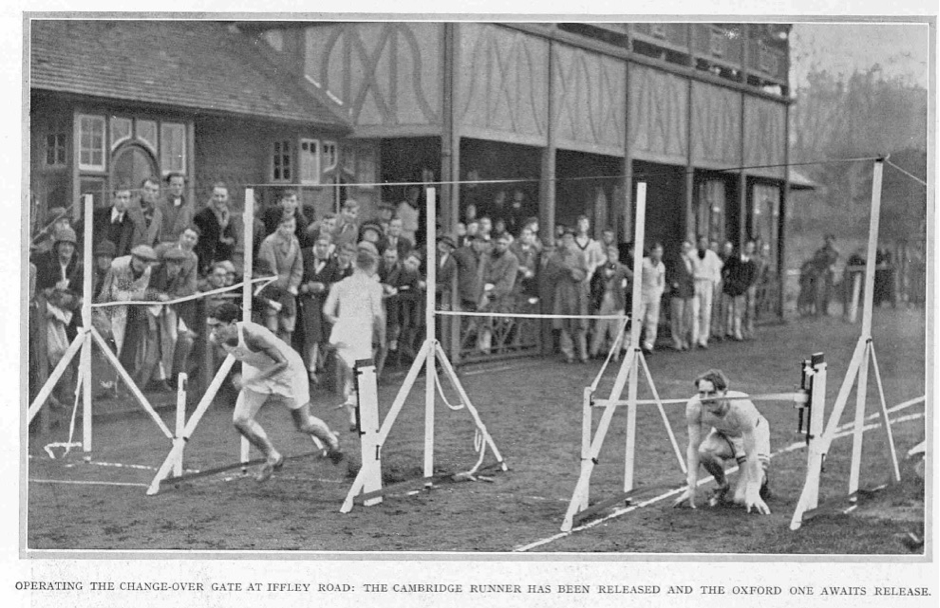 Figure 1. A change-over during the 480 yards high hurdles, won by Cambridge. Illustrated Sporting and Dramatic News, Saturday 5 December 1931, 28