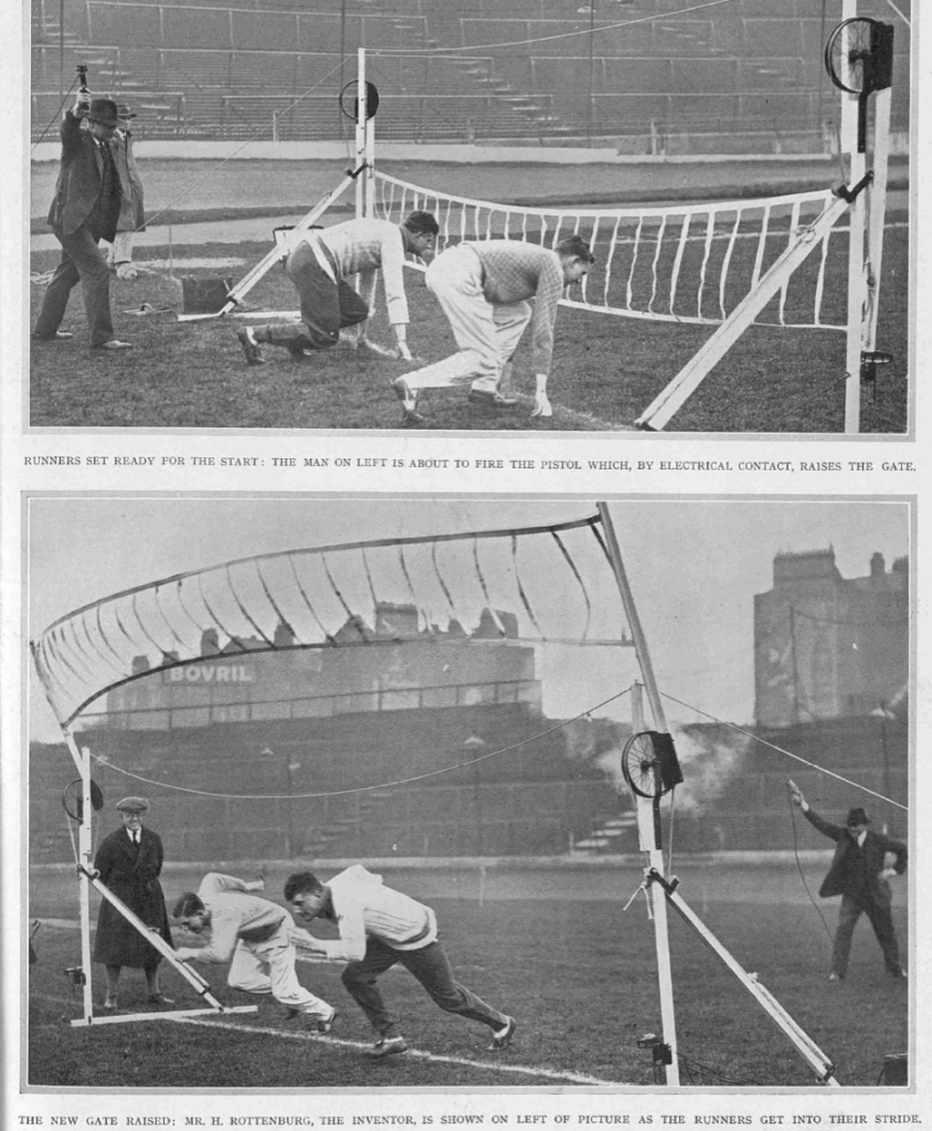 Figure 2. As on the Turf- A New Starting Gate for Running Events. Illustrated Sporting and Dramatic News, Saturday 9 April 1932, 69
