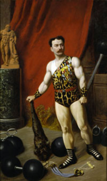 'Professor Atilla' in rather more modest loincloths, c. 1890s