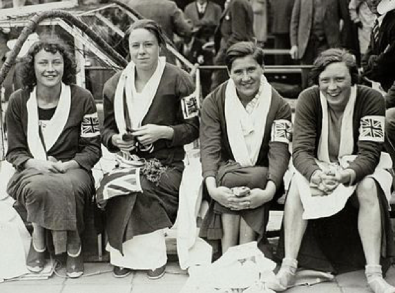 British women's 4 x 100m team, 1928 Olympics. Joyce Cooper on left