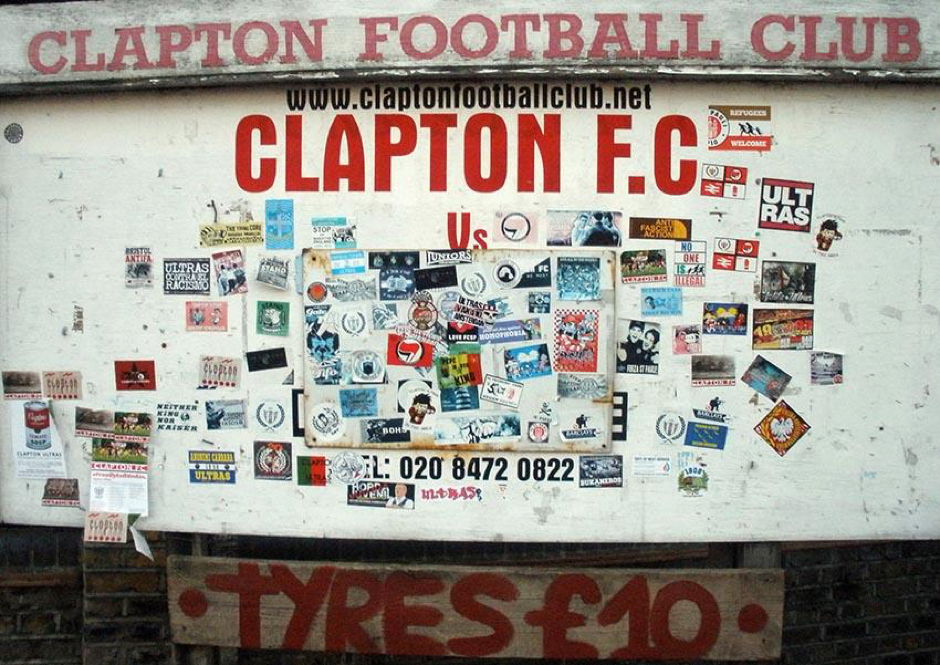 Clapton F.C board, outside the club