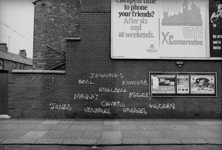 Graffiti on a Manchester wall, consisting of a Spurs team line up circa 1967-68 #footballgraffiti (Footballgraffiti.tumblr.com, n.d.)