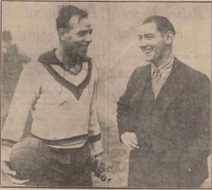 Alex Jackson (right) with Zamera, Spain's captain & goalkeeper before the England v Spain match at Highbury Leeds Mercury – 9th December 1931