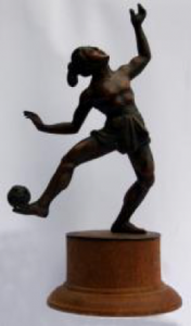 Bronze sculpture of a Sipa player mainly associated with The Philippines