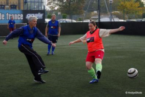 Bringing it up to date, me playing Walking Football at Goals at Bexleyheath. I am the male in long trousers with ''go fast'' stripe. Photo by Andy Clay who has done so much to help me to illustrate several projects