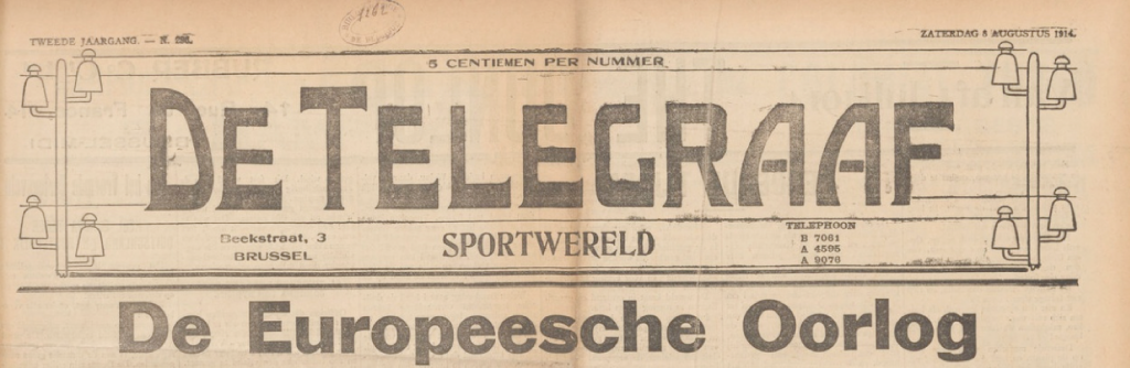 De Telegraaf-Sportwereld Saturday 8 August 1914