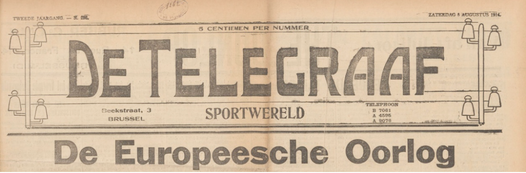 The Telegraaf-Sportwereld of Saturday 8 August 1914