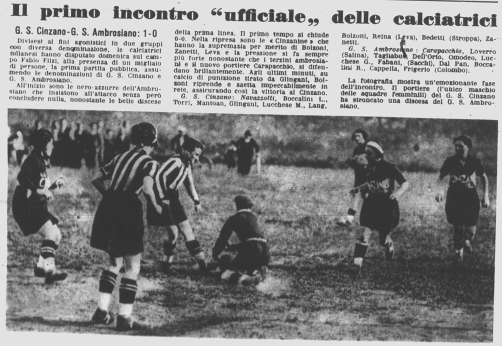 "The first public match in Milan (June 1933): please note title (The first ""official"" match of calciatrici) Source: Il Calcio Illustrato, 14/06/1933, p. 12."