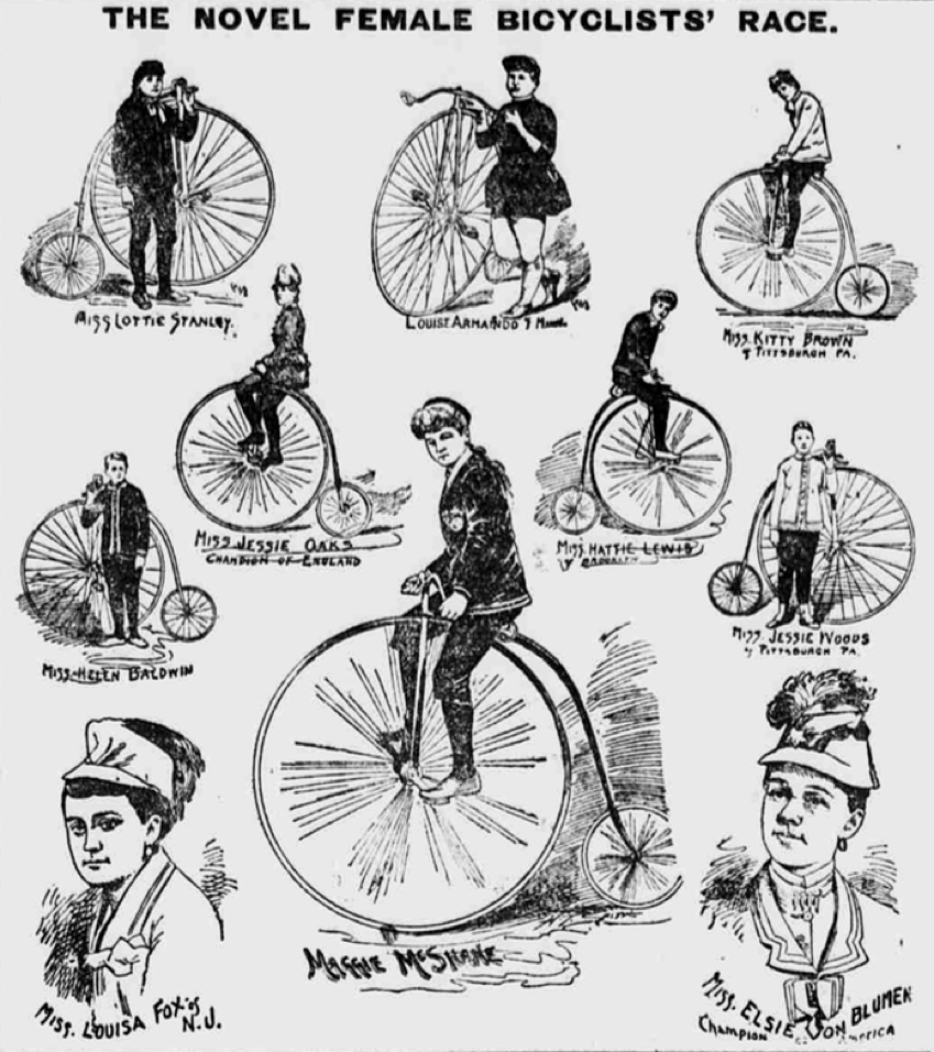 A newspaper sketch of some of the American female racers. Source- Library of Congress Newspaper Archive
