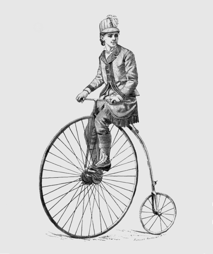 A sketch of Elsa Von Blumen with her high-wheeler bicycle from 1885. Source- Local History & Genealogy Division, Rochester (NY) Public Library