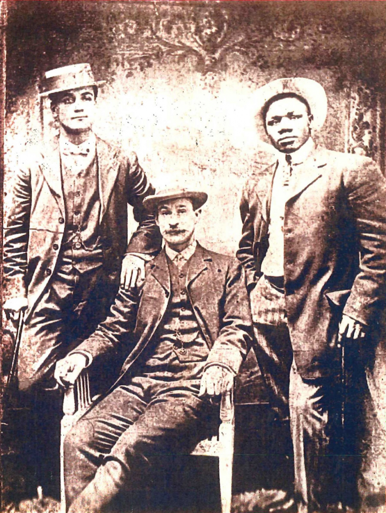 Jeptha (Left), unfortunately I was unable to identify the manager who was sitting in the middle, Sam Langford (right)