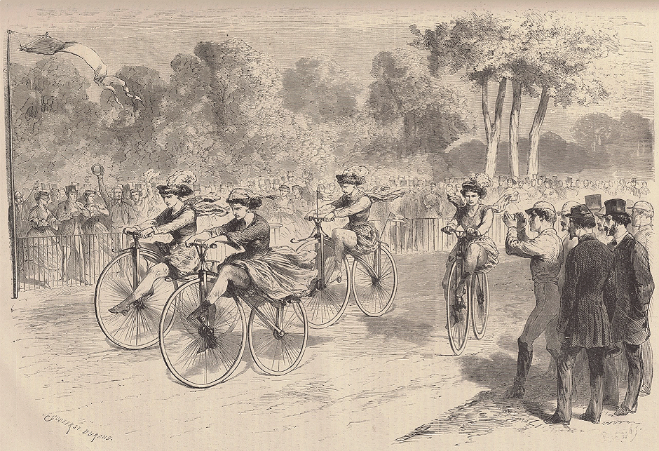 Le Monde Illustré's depiction of the first women's cycle race in Parc Bordelais, Bordeaux. Source- Bibliothèque nationale de France (BnF)