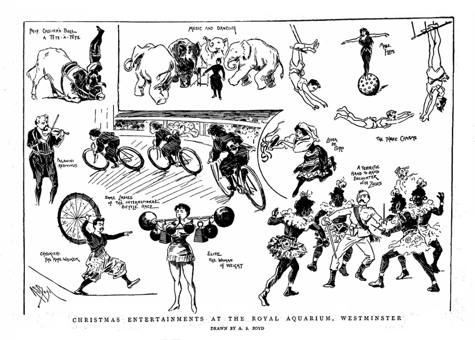 A sketch in The Graphic illustrating the novelty acts at one six-day race. Source- © British Library Board (The Graphic, 4 January 1896, p. 14)