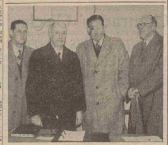 Freddie (2nd from right) with officials from Daventry British Legion where he gave a talk on cricket in 1950 (Northampton Mercury - Friday 13 January 1950)