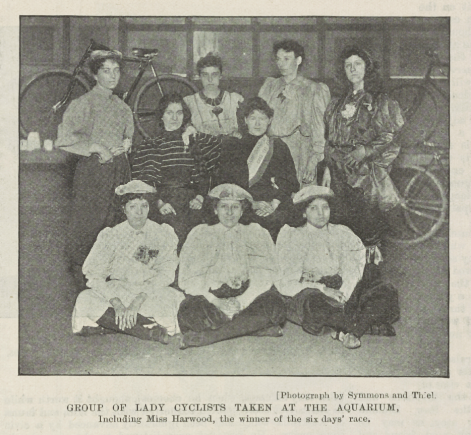 Riders from the first six-day race at the Royal Aquarium. Monica Harwood is second left, back row. Source: Reproduced by kind permission of the Syndics of Cambridge University Library (NPR.B.443, The Queen: The Lady's Newspaper, 7 December 1895, p. 1095)