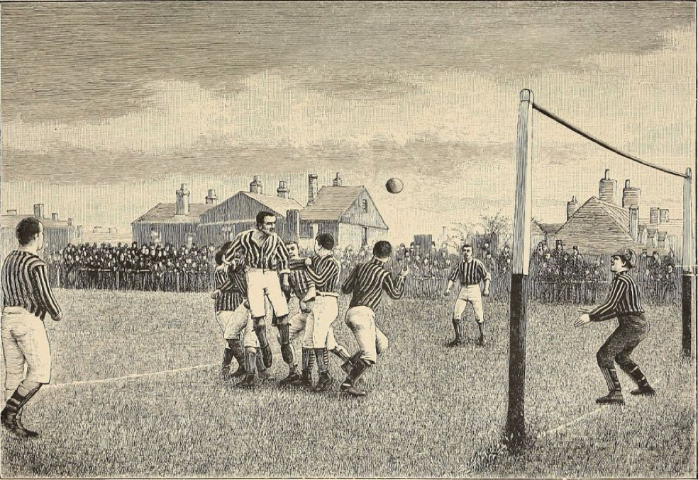 Representation of a football match from the book Athletics and football, 1894