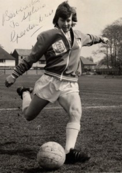 Sylvia Gore in England training kit (image by kind permission of MMU Cheshire, Sport & Leisure History Archive, Sylvia Gore Collection)
