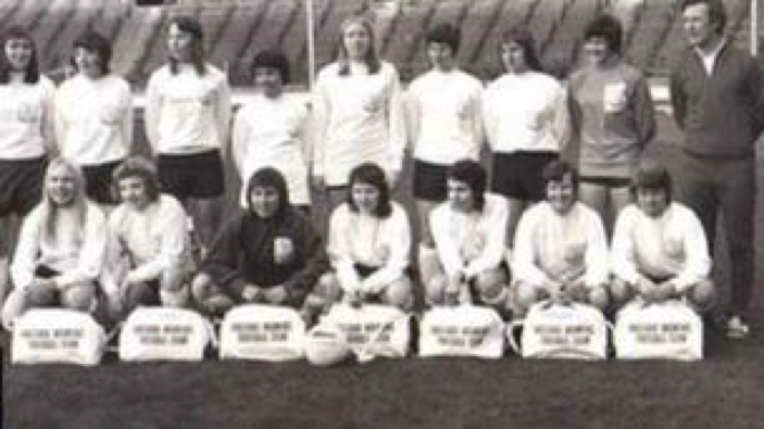 The first England Ladies National Football team 1972 (see - https-::www.bbc.com:news:uk-england-merseyside-37939900)