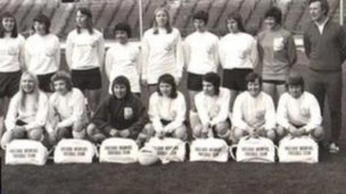 The first England Ladies National Football team 1972 (see - https-::www.bbc.com:news:uk-england-merseyside-37939900)