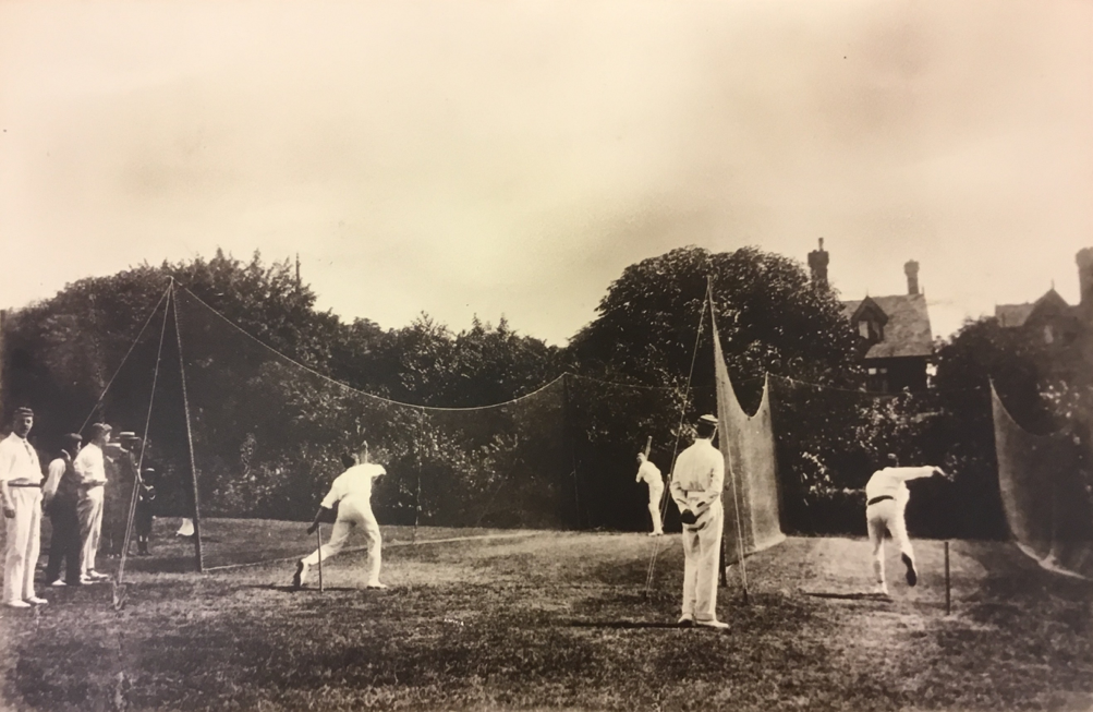 A photo from the Dutch cricket tour to England in 1901- Practice in the nets at Crystal Palace. Source- Nationaal Archief, Den Haag, 2.19.125 KNCB Archive, Document Folder 1106