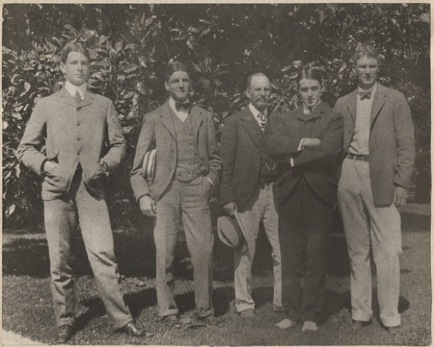 California, 1899 (L-R Dwight Davis, Beals Wright, George Wright, Holcombe Ward, Malcolm Whitman)