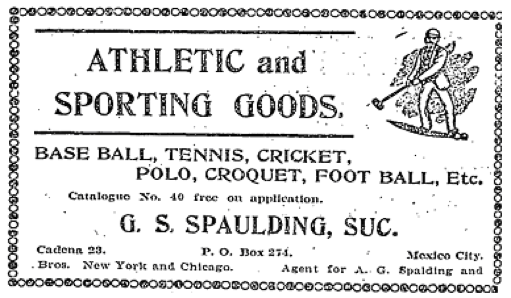 Cricket gear for sale in The Mexican Herald, Sunday 17 July 1904