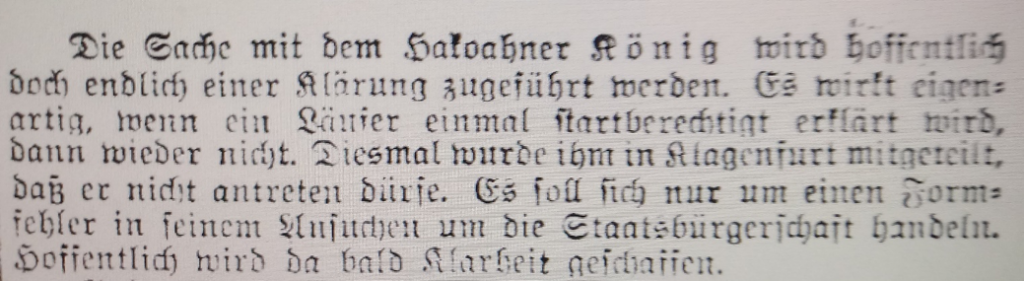"Excerpts of article in Sport Tagblatt (28 July 1937) reporting that König has been stopped from starting in Klagenfurt for failure in formalities ""formfehler"""